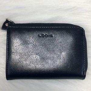 Lodis Black Leather Card Holder Coin Purse Bag